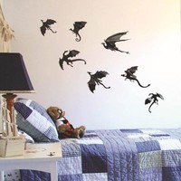 7pcs set Halloween Fantasy Decor Dinosaurs Boys Rooms Game of Thrones 3D Dragons Wall Art Decals Wall Stickers