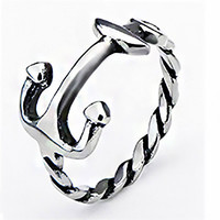 Anchor Me - FINAL SALE Anchor and rope design silver stainless steel ring