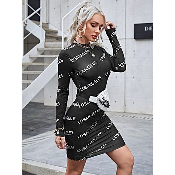 SHEIN Allover Letter Print Bodycon Dress Without Bag