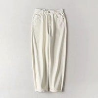 Women Casual Solid Color High-waisted Cropped Harem Pants
