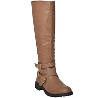 Womens Knee High Leather Riding Boots Tan