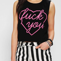 Urban Outfitters - Feather Hearts F*ck You Cropped Muscle Tee
