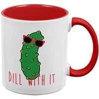 Vegetable Pickle Dill Deal With It Red Handle Coffee Mug