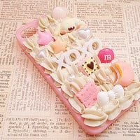 Pink iPhone 4/4s Case - Girly Pastel Pink - Kawaii Decoden Phone Case - Sweets Deco - Cinnamoroll, Candy, Fairy Kei, XOXO - Whipped Cream