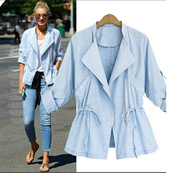 Solid Lapel Collar Oblique Zipper Drawstring Waist Jacket
