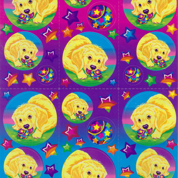 Lisa Frank golden retriever stickers, puppy dog with tennis ball rainbow 90s stickers set of 3 - ADD ON ITEM
