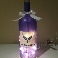 Air Force wine bottle lamp, accent lamp, nightlight