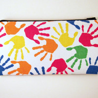 Colorful Hands Zipper Pouch, Gadget Bag, Make Up Bag, Pencil Pouch