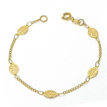Gold Layered 06.09.0001.07 Fancy Bracelet, Leaf and Filigree Design, Polished Finish, Golden Tone