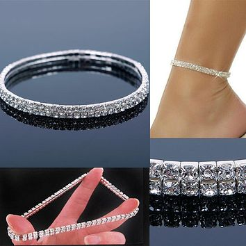 1Pcs Foot anklet Double Stretch Rhinestone Silver Gold  Anklet Foot Fashion Jewelry Foot Chain Leg Bracelet  #56919