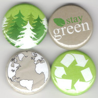 The Enviromentalist - Set of 4 - Enviromental Green Recycle Eco-Friendly Earth Buttons Pins Badges Pinback
