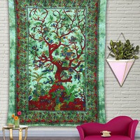 Green Garden Tree Mandala Bohemian Fabric Tapestry