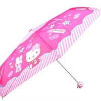 Hetty's Cute Kt Open Close Folding Light Portable Travel Umbrella Sun Shade Windproof Hello Kitty for Kids, Girls and Women (stripe)