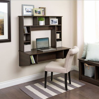 Stylish Floating Desk Storage Compartments Home Office Furniture Espresso Finish