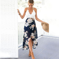 White and Blue Floral Print Halter Dress
