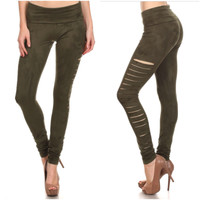Slash Suede Cut Out Leggings