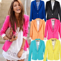 Candy-colored slim one-button suit  Assorted Colors [235]