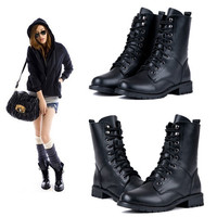 Women Ankle Booties Military Combat Boots Lace Up Cowboy Fashion Dress Shoes l_f 7936 = 1946553284
