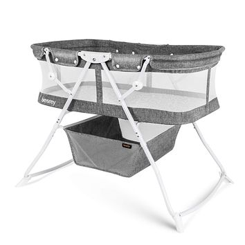 besrey Baby Bassinet 2 in 1 Lightweight Portable Baby Bed with Breathable Net/Harmless Mattress/Quick Foldable Design for up 33 lbs/ 5 Months Infant, Baby Gray