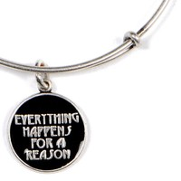 Alex and Ani Everything Happens for a Reason Expandable Wire Bangle Russian Silver