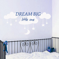 Wall Decal Quote Dream Big Little One Decal Vinyl Decals Moon Stars Art Mural Clouds Sticker Bedroom Interior Design Kids Nursery Decor KI98