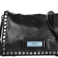 Prada women's leather shoulder bag original black