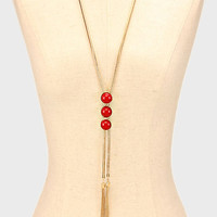 Triple Red Cabochon Gold Chain Tassel Necklace