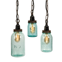 Mason Jar Pendant Lights - Set of 3