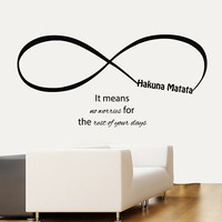 Wall Decals Hakuna Matata Infinity It Means No Worries For The Rest Of Your Days Home Vinyl Decal Sticker Kids Nursery Baby Room Decor kk626