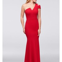 Asymmetric Notched Neckline Crepe Mermaid Gown | David's Bridal