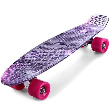 Outlife CL - 95  Skateboard Printing Mysterious Purple Starry Sky Pattern Complete 22 inch Retro Cruiser Longboard For Child
