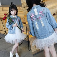 Girls Hole Denim Jackets Coats 2018 Children Long Sleeve Outwear Embroidery Girl Jean Jacket 4 6 8 10 12 Years Kids Clothes