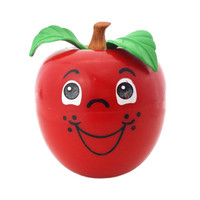 Fisher Price Happy Apple Roly Poly Chime Ball, Vintage Toy, Short Stem Apple, Anthropomorphic Fruit, Kitschy Kitchen Nursery Kids Room Decor