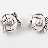 2 Large Weighty Fish Bead Spacers - Pandora European Style Charm Bracelet -  Matte Silver Plated