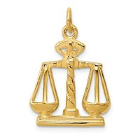 14K Yellow Gold Scale of True Justice Necklace Charm