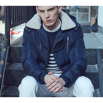 Hooded Cotton Jacket Men Thicken Coat Faux Fur Collar Fashion Male Jackets Cotton Padded Windproof