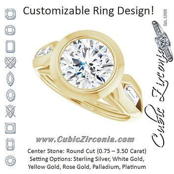 Cubic Zirconia Engagement Ring- The Claudelle (Customizable Bezel-set Round Cut Design with Wide Split Band & Tension-Channel Baguette Accents)