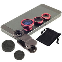 Universal 3in1 Clip-On Fish Eye Lens Wide Angle Macro Mobile Phone Lens For iPhone 4 5 6 Samsung  LG HTC  All Phones fisheye