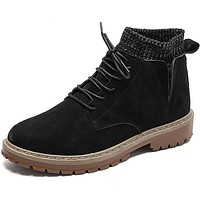 Men's Snow Boots Cotton / Linen Fall & Winter Classic / Casual Boots Hiking Shoes / Walking Shoes Breathable Black / Light Brown / Khaki