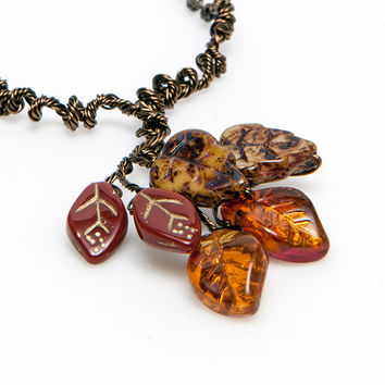 Brown and Gold Autumn Fall Necklace, Leaf Necklace, Fall Jewelry, Autumn Jewelry, Woodland Jewelry, Twig Jewelry