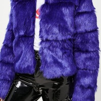 Missguided - Blue Cropped Faux Fur Jacket