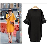 Summer Loose Dress Women 2017 Flare Sleeve Beach Dress Boho T-shirt Dresses Hollow Out Cotton Dresses Loose Vestidos Robe Femme
