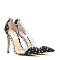gianvito rossi - polka-dot fabric and transparent pumps