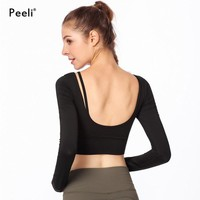 Peeli Long Sleeve Sports Shirt Women Breathable Gym Crop Tops Fitness Workout Gym Clothing Jerseys Yoga Top Running Activewear