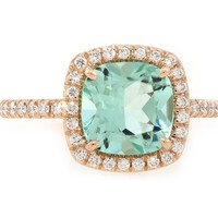 2ct Mint Green Aquamarine Goddess Ring