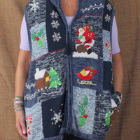 Fun Christmas Sweater Vest 26w 28w size Zip Front Holiday Party Beaded Santa Plus