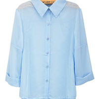 Light Blue Chiffon Half Sleeve Shirt Collar Blouse