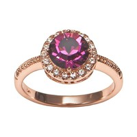Rose Gold Tone Silver Plate Crystal Frame Ring (Purple)