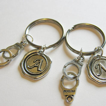 2 Partners In Crime Handcuff Wax Seal Initial  Keychains BFF Sisters Couples