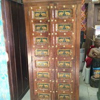Antique Cabinet Shabby Chic Storage Armoire Indian Brass Elephant India Furniture